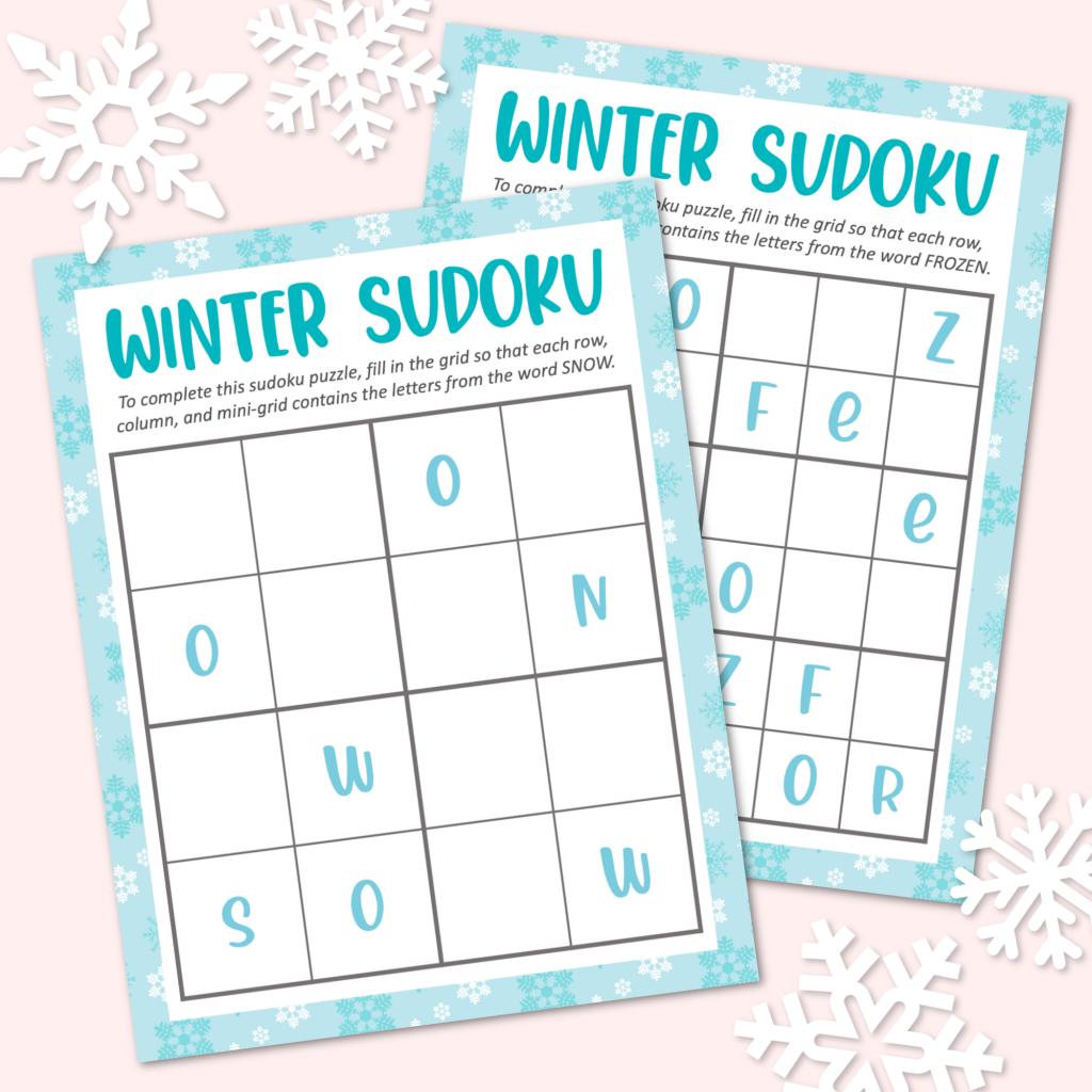 Winter Sudoku Puzzles Free Printable Kara Creates