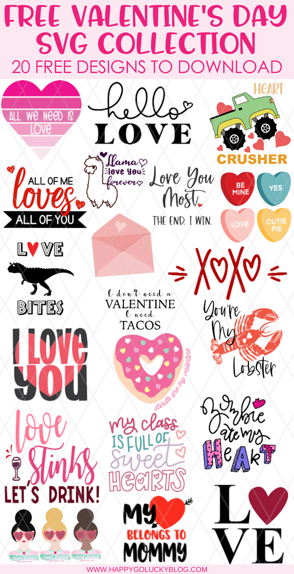 A collection of 20 free Valentine's Day SVG Cut Files.