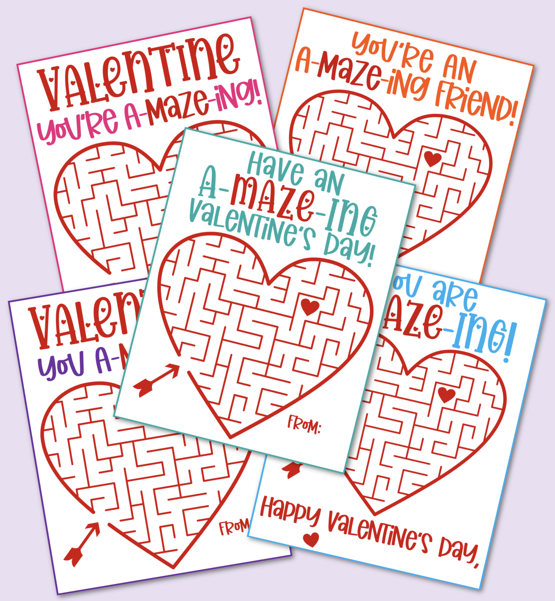 Heart Printable Maze Valentine's Day Cards to download and print for free.