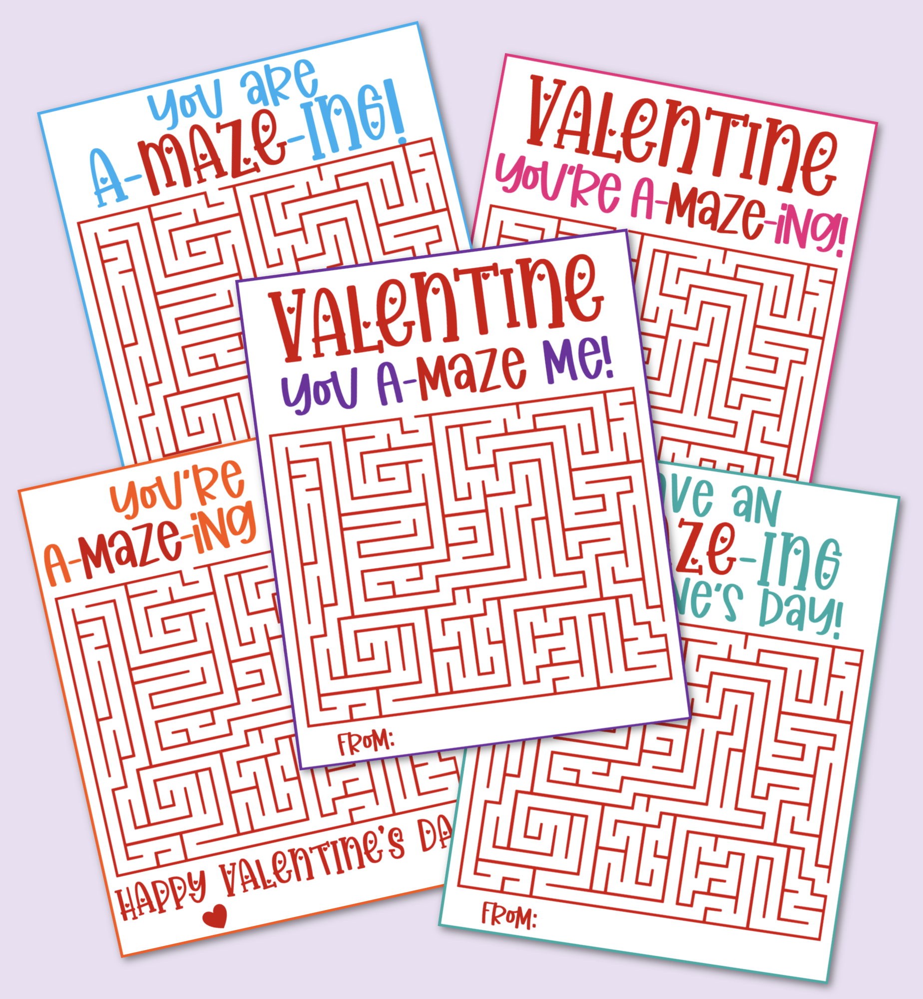 Printable Maze Valentine's Day Cards that are free to download and print.