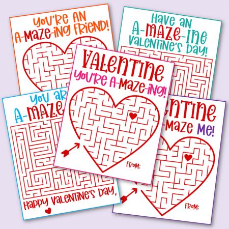 Free Printable Maze Valentine's Day Cards