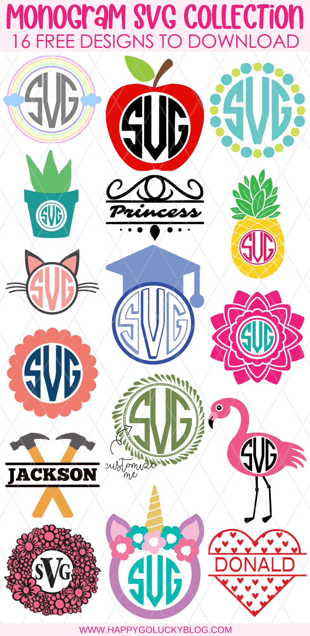 Free Monogram SVG Collection with 16 free cut files to download