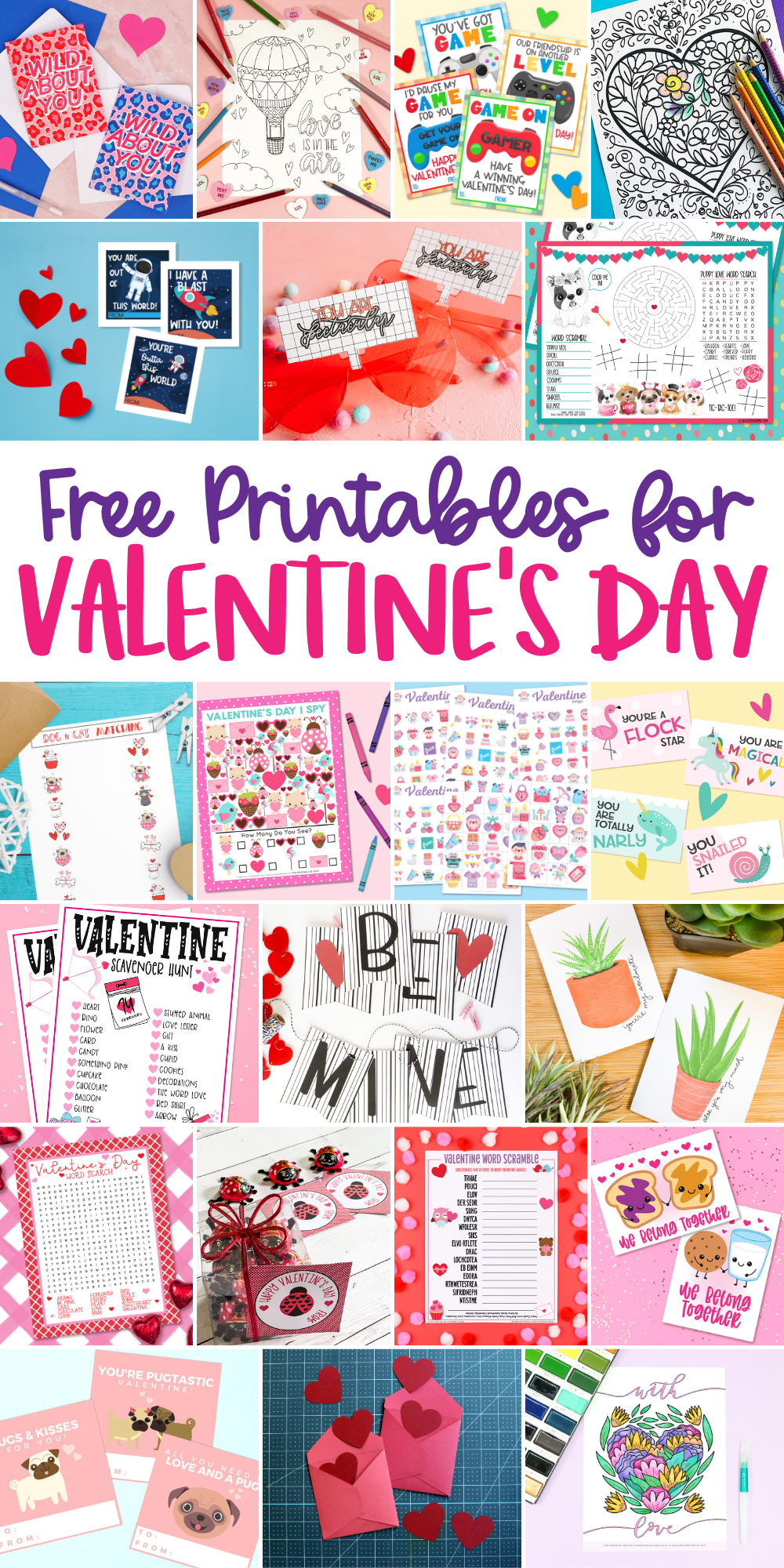A collection of 21 free Valentine's Day printables