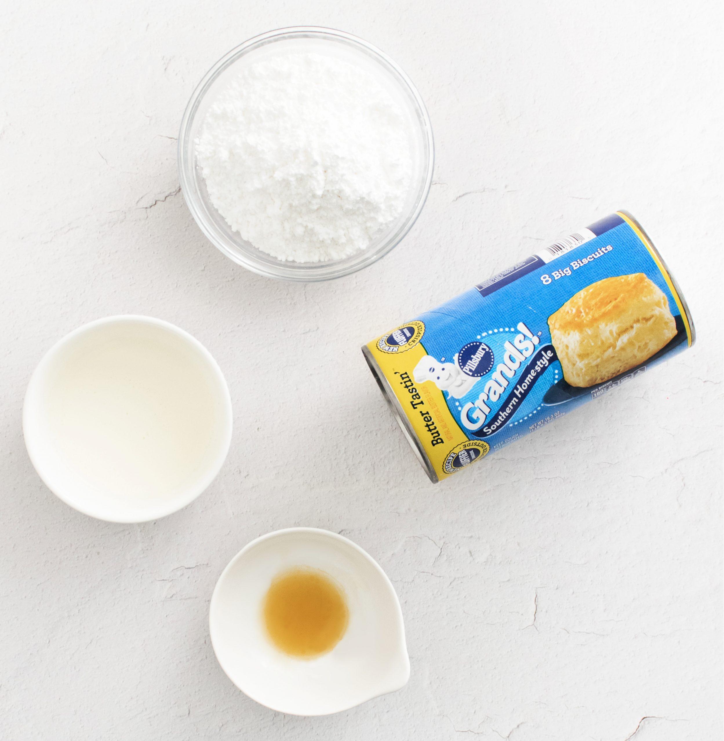 Ingredients to make air fryer donuts