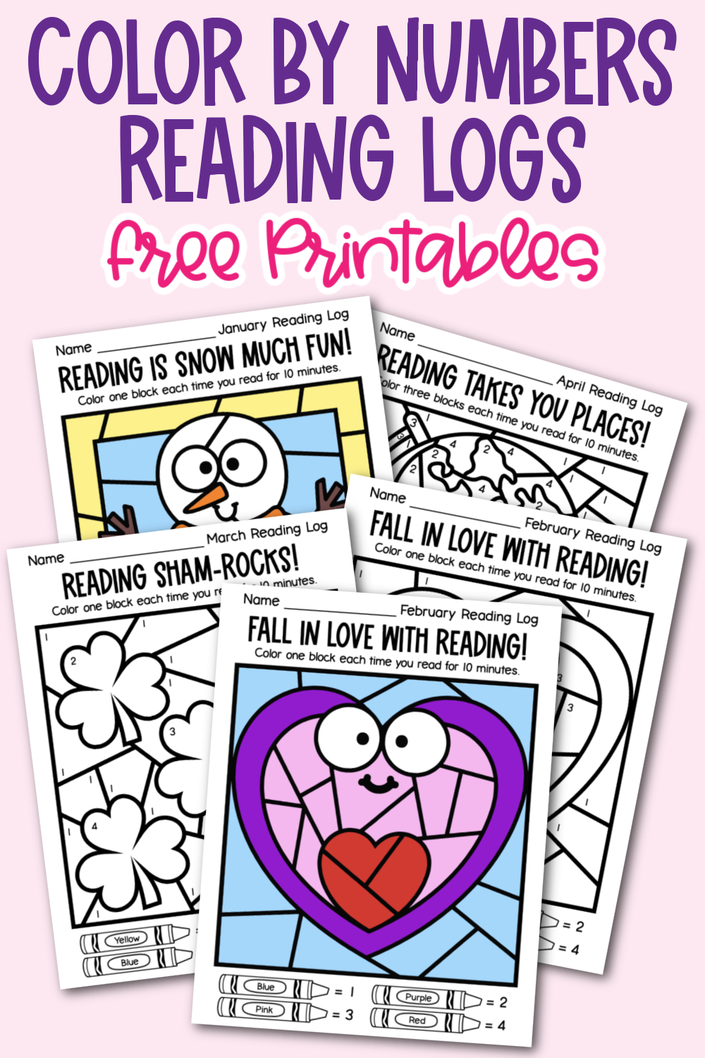 Encourage children to read with these fun and free Color by Number Reading Logs. 12 free printables to download.