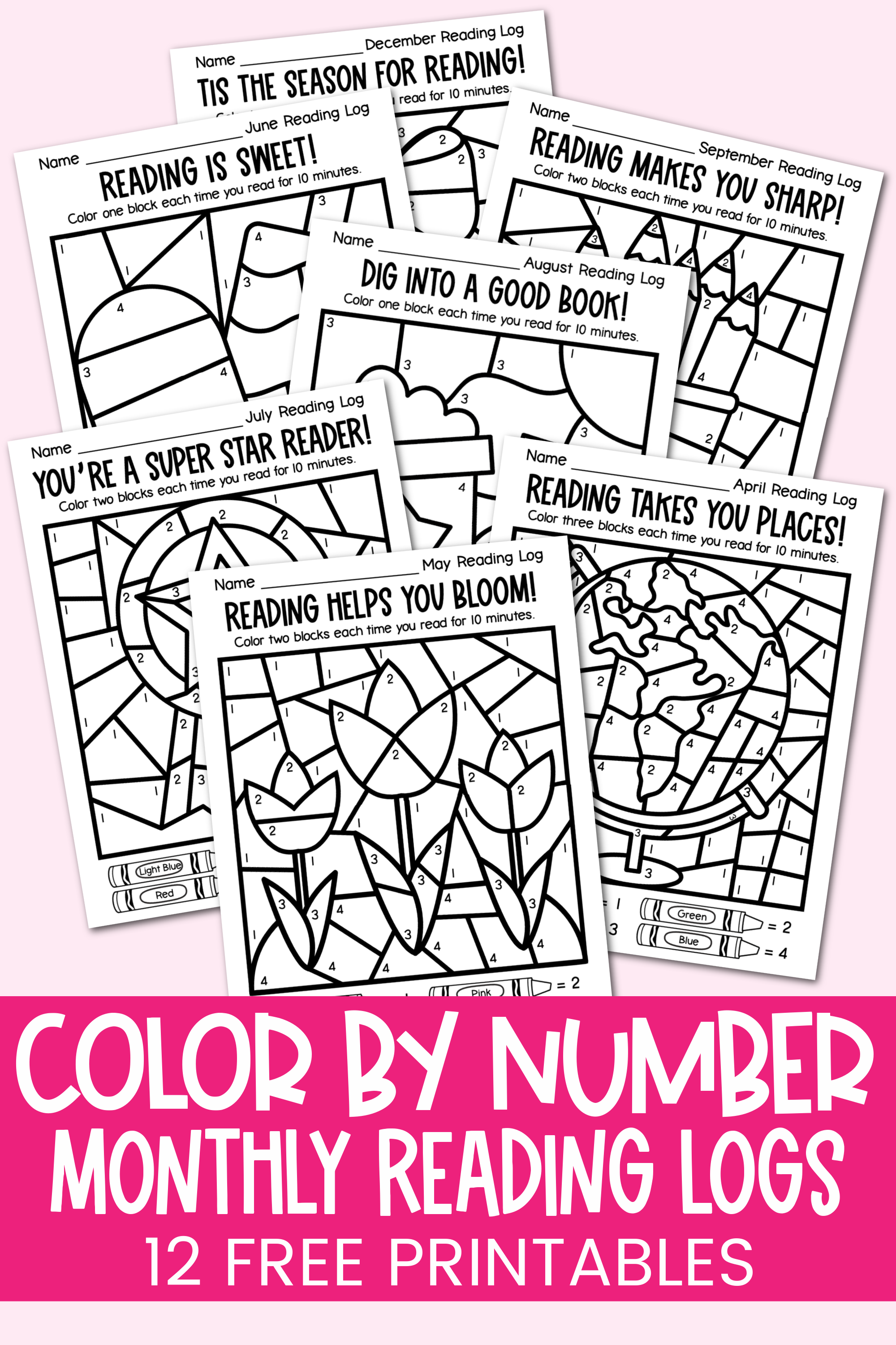 12 free Color by Number Reading Logs