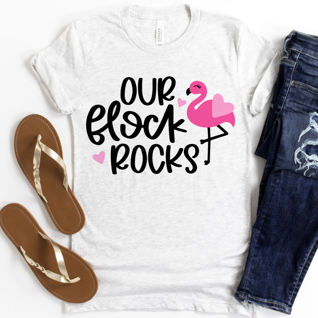 Our Flock Rocks SVG on white shirt - Flamingo SVG Collection