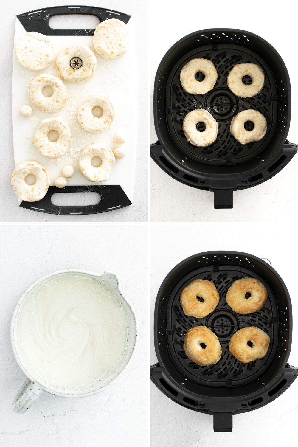 Air Fryer Donuts Step by Step processs in air fryer with icing.