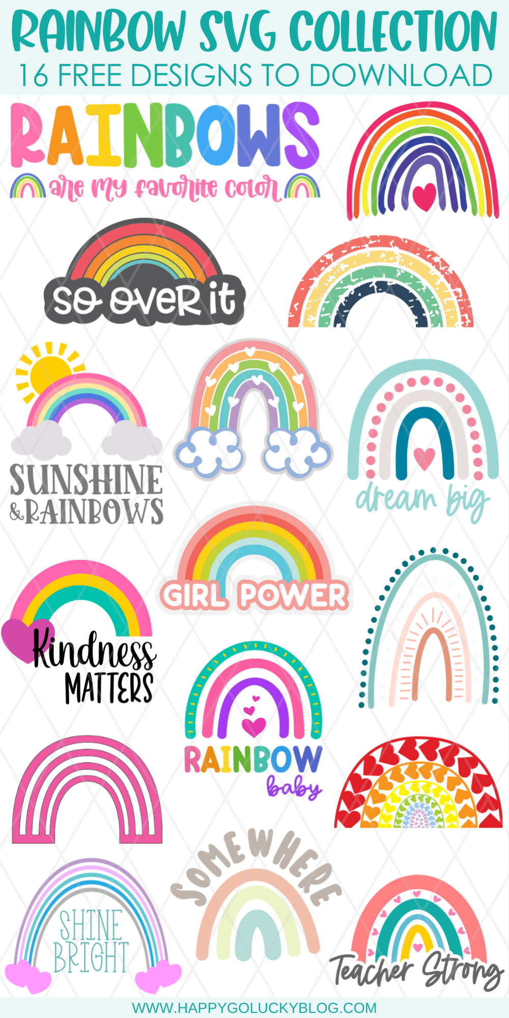Rainbow SVG Collection 16 Free Designs to Download
