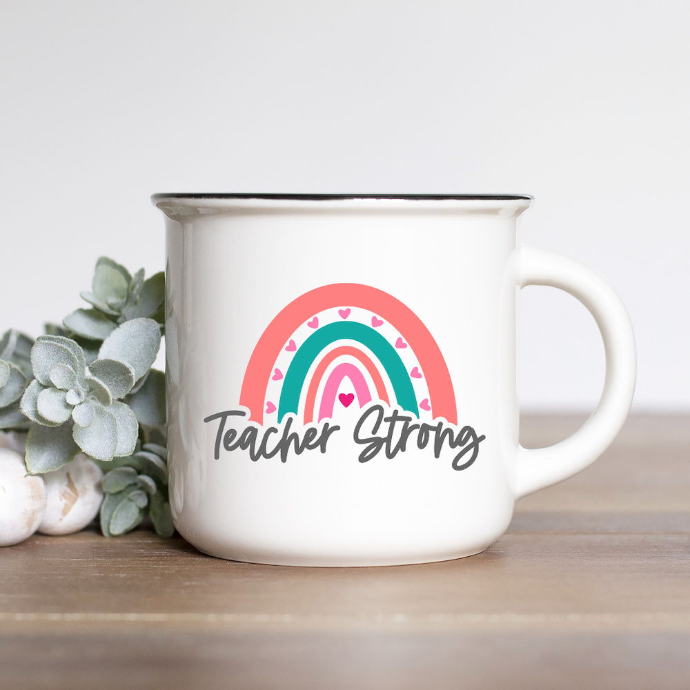 Rainbow Teacher Strong SVG on Mug
