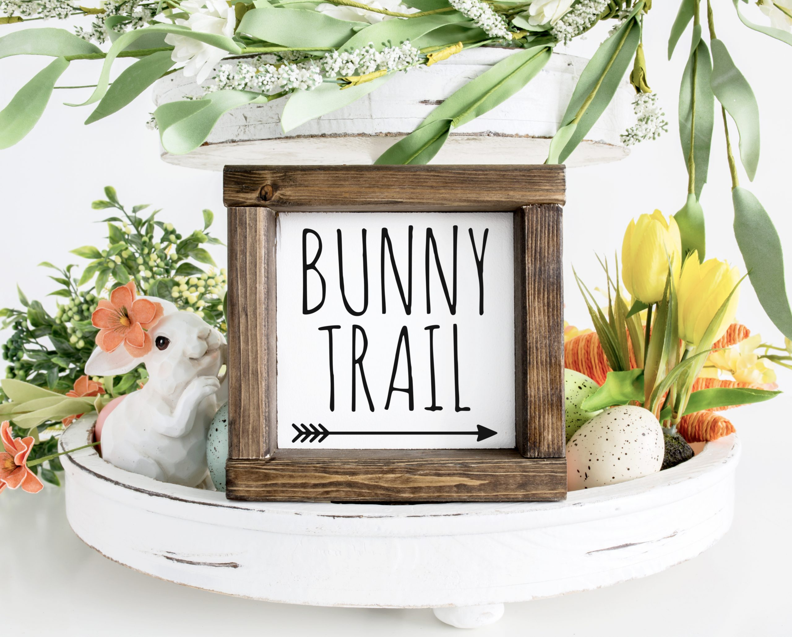 Bunny Trail Wood Sign with Free SVG Cut File