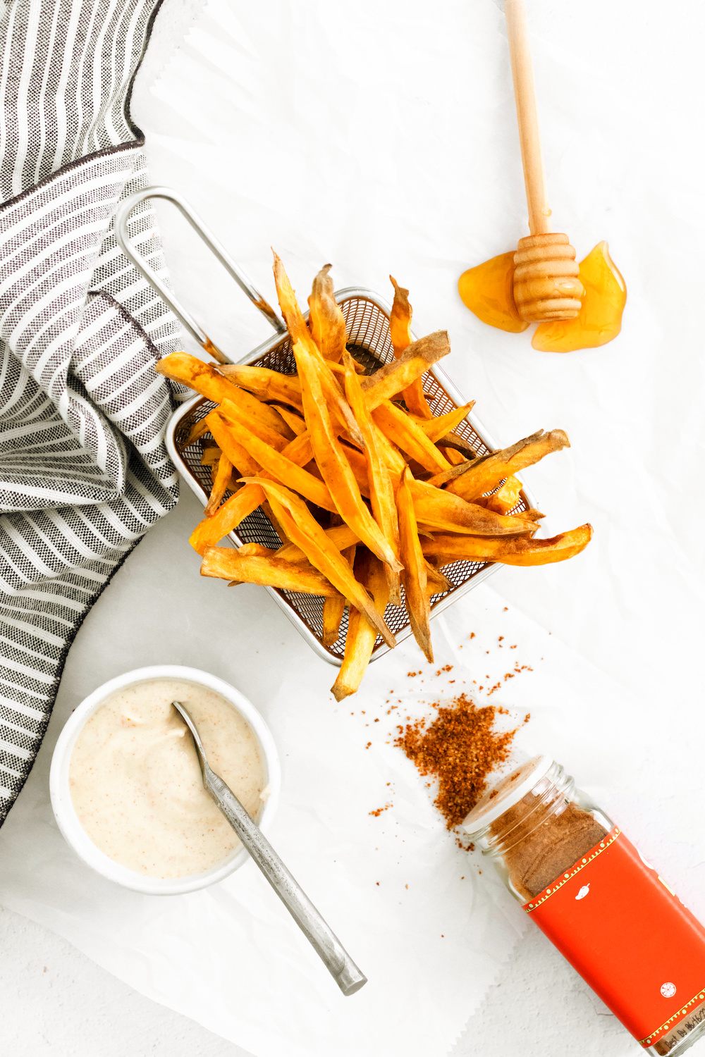 Sweet potato french fries cooked in the air fryer