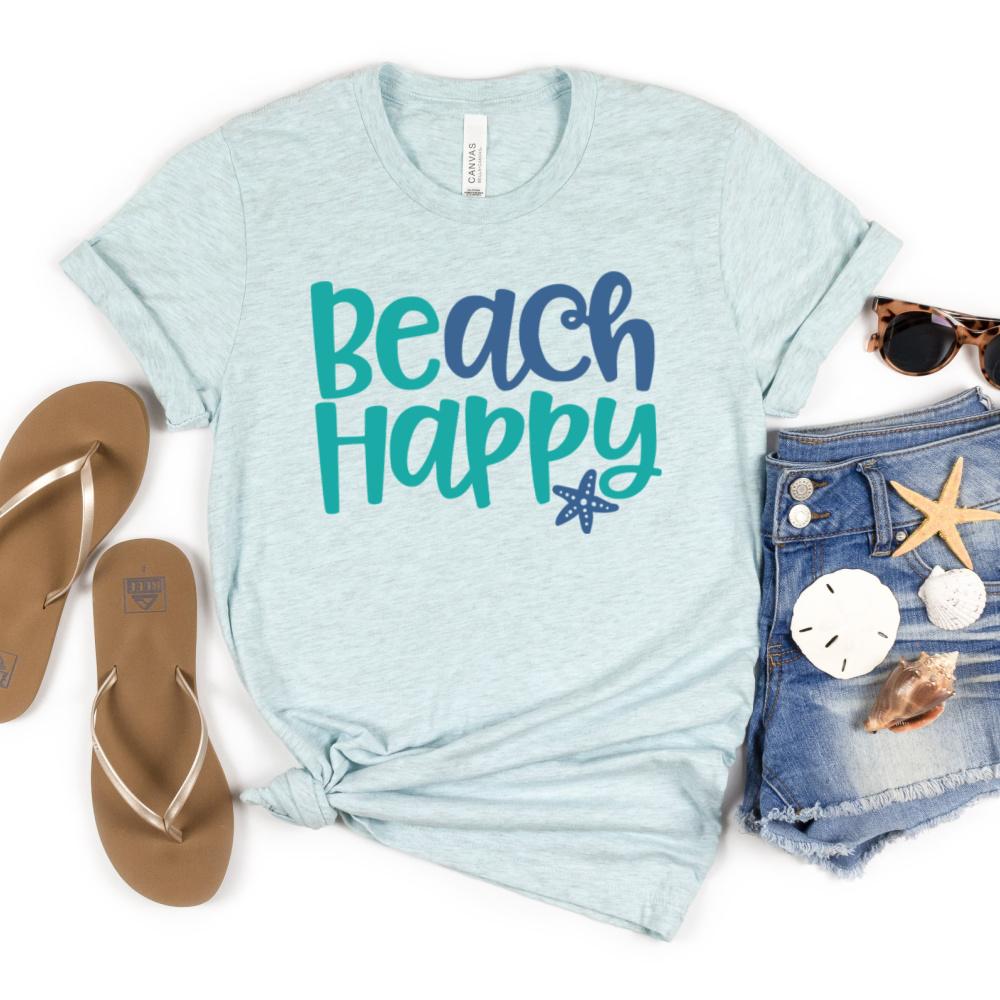 Beach Happy SVG on light blue shirt