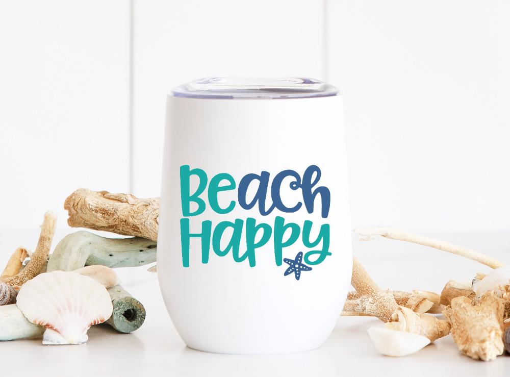 Beach Happy SVG on white wine tumbler