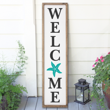 Beach Welcome Sign with Starfish - Free SVG Cut File