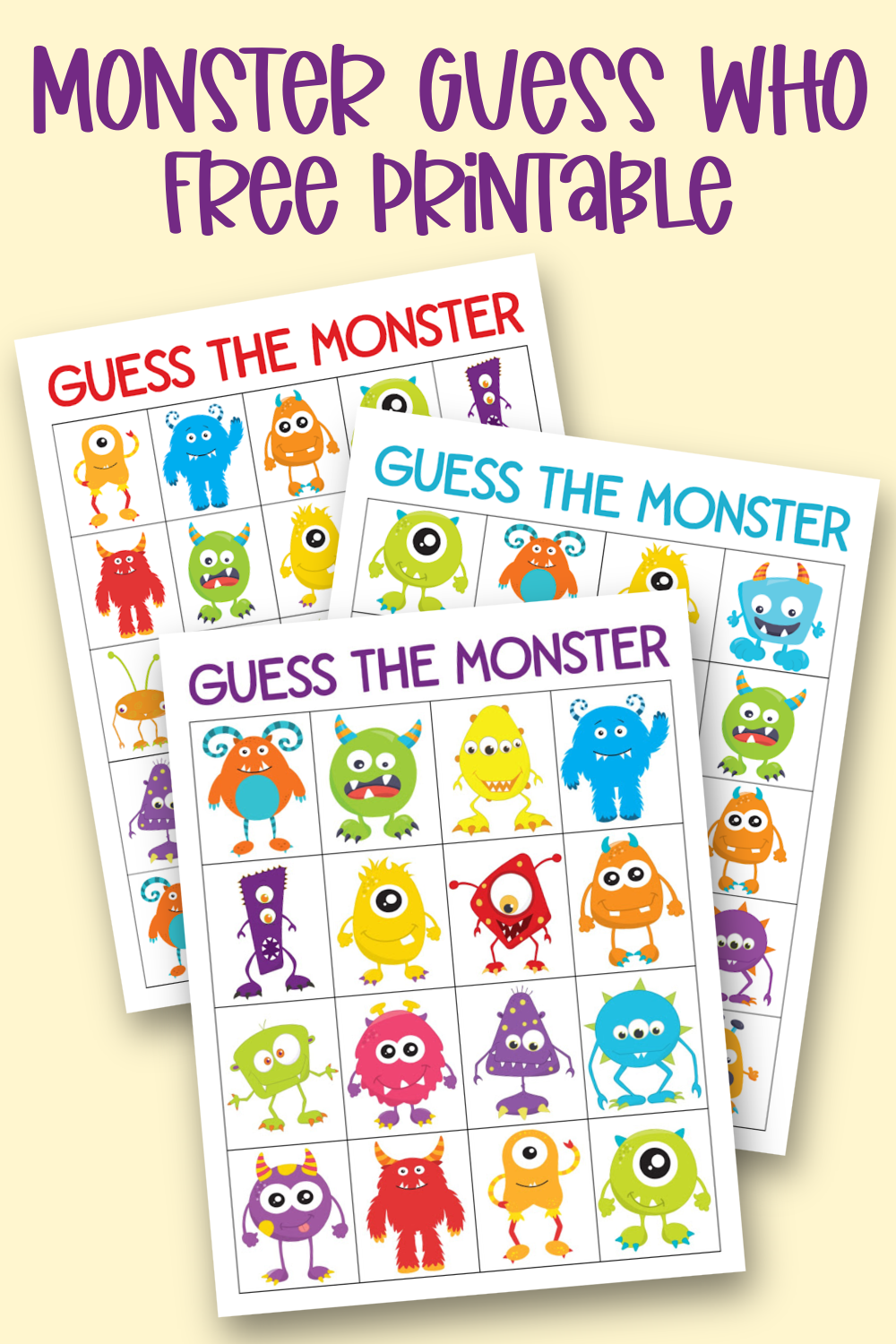 Monster Guess Who Free Printable Game