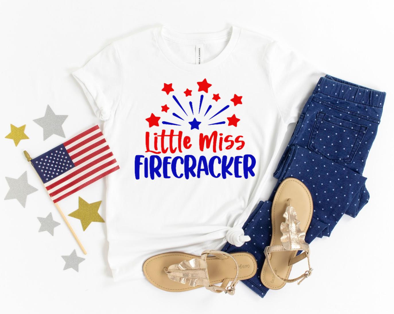 Little Miss Firecracker SVG on white t-shirt