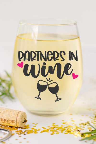 Partners in Wine SVG on Wine Glass