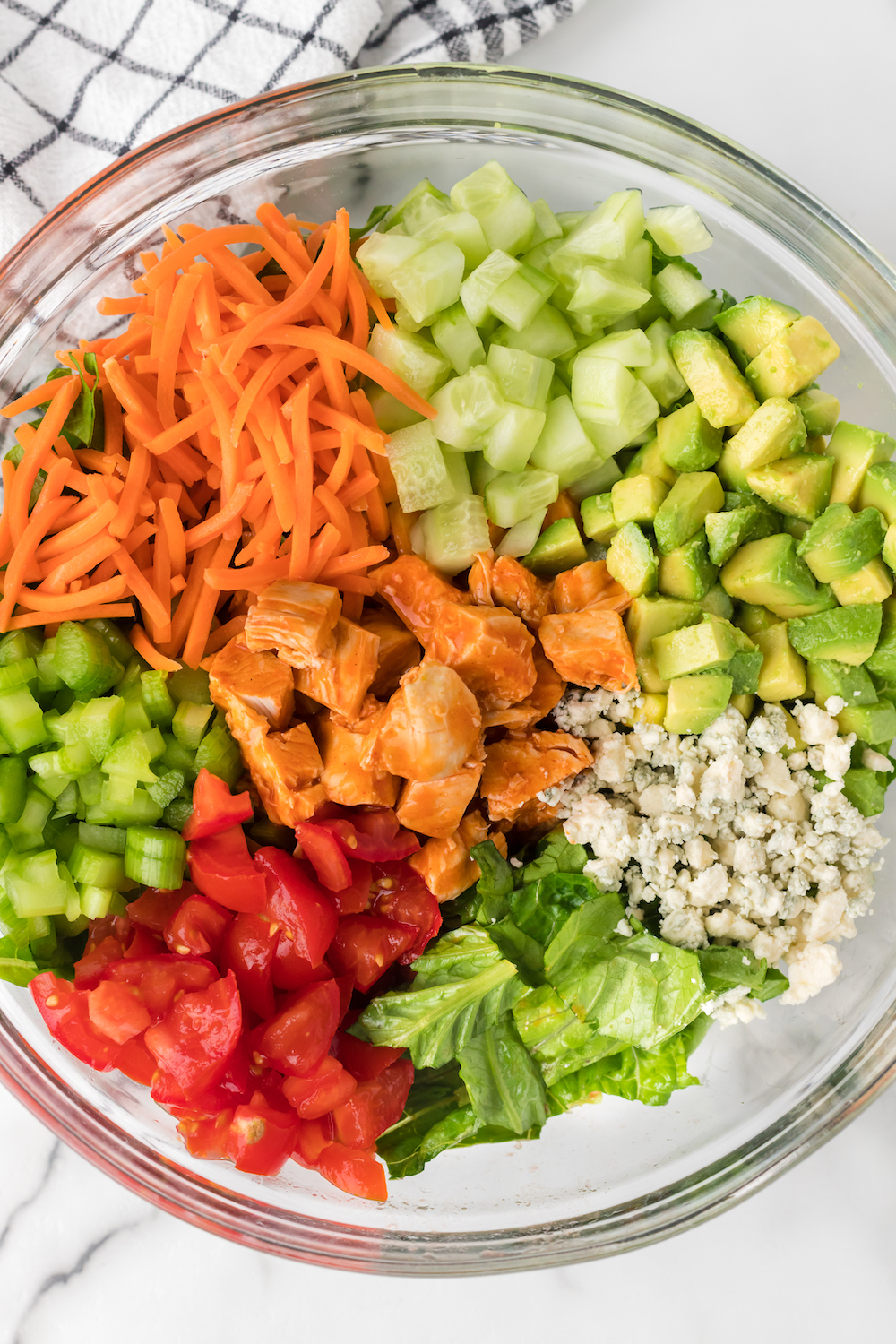 Ingredients needed to make Buffalo Chicken Chopped Salad