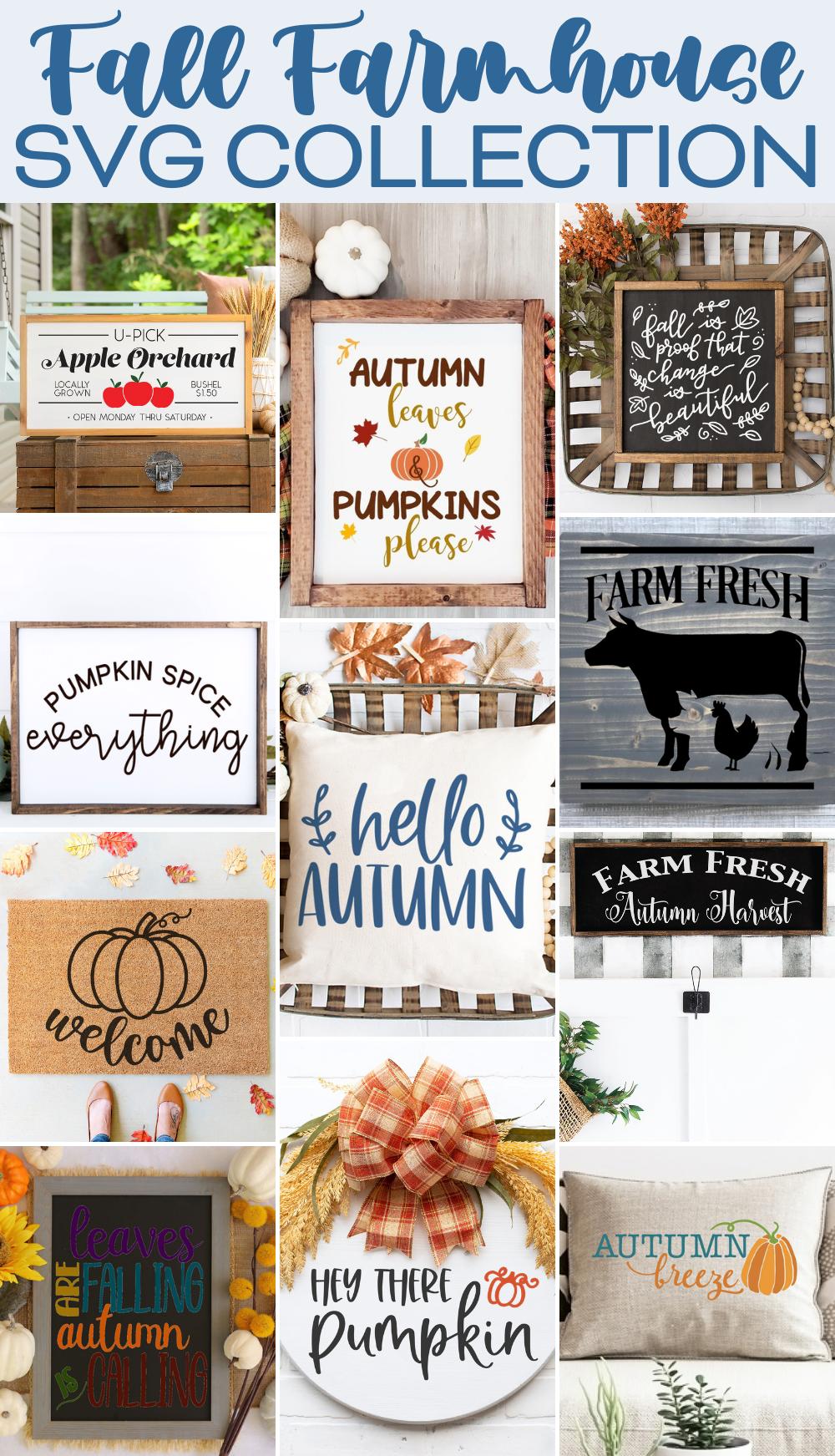 Fall Farmhoue SVG Collection - 11 Fall Farmhouse SVG cut files.