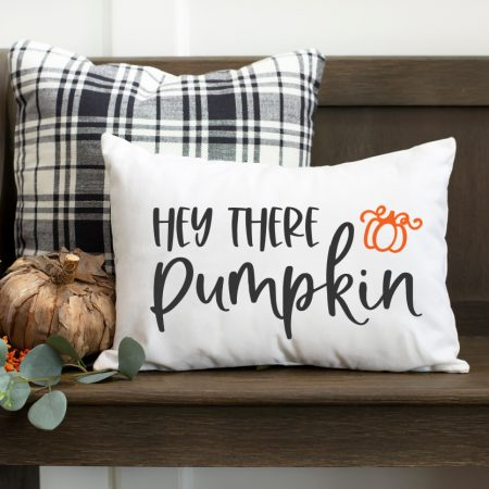 Hey There Pumpkin SVG on white pillow